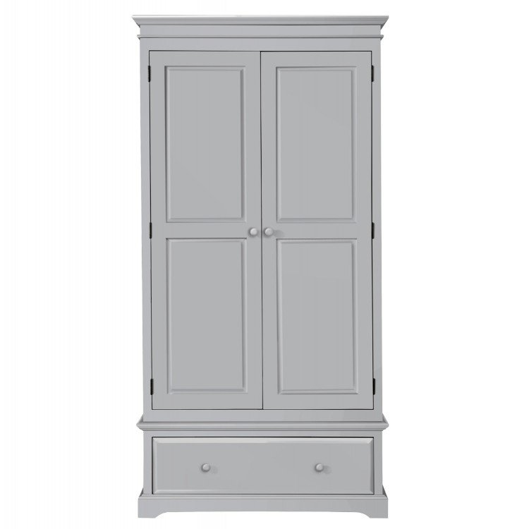 Birlea Suffolk Dove Grey Pine Furniture 2 Door 1 Drawer Wardrobe
