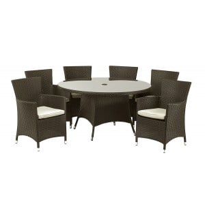 Royalcraft Garden Furniture Cannes Mocha Brown 6 Seat Dining Set