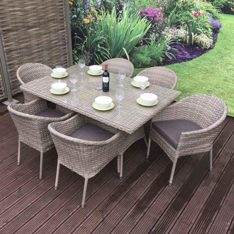 Signature Weave Garden Furniture Darcey 6 Seat Rectangle Stacking Set