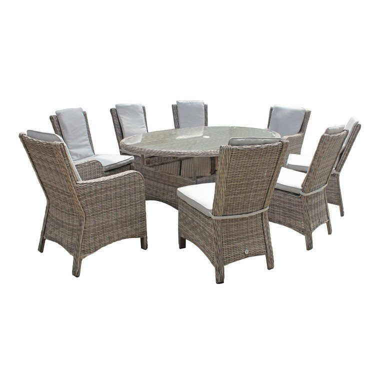 Signature Weave Garden Furniture Alexandra Grey Oval 8 Seat Dining Set