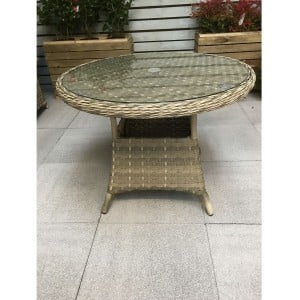 Signature Weave Garden Furniture Florence Caramel 100cm Round Dining Table