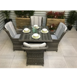 Signature Weave Garden Furniture Victoria Grey 100cm Square Dining Table Only