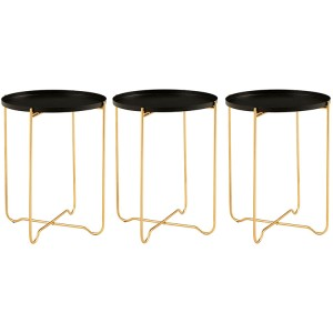 Templar Gold Finish Iron and Black Top Side Table Pair of 3