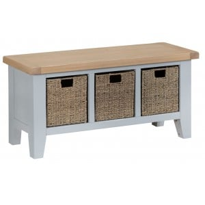 Tenby Grey Painted Furniture Large Hall Bench with Baskets