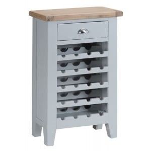 Tenby Grey Painted Furniture Wine Rack with Drawer