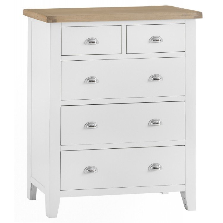Tenby White Painted Furniture Jumbo 2 over 3 Drawer Chest - PRE ORDER