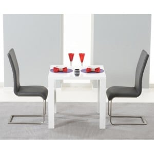 Hereford 80cm High Gloss Furniture Grey Dining Set