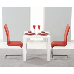 Hereford 80cm High Gloss Furniture Red Dining Set