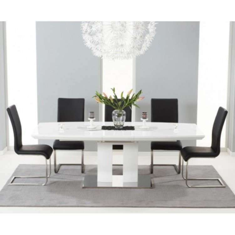 Rossini 180cm High Gloss Furniture Extending & 6 Black Chairs