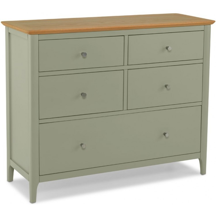 Berlin Painted Oak Furniture 5 Drawer Wide Chest