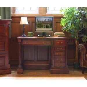 La Roque Mahogany Furniture Single Pedestal Computer Desk