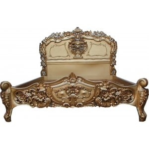 Rococo French Furniture King Size Gold Bed