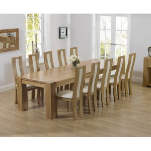 Tampa Oak Furniture 300cm Extra Large Dining Table & Havana Chairs Set
