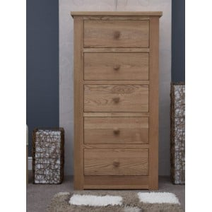 Torino Solid Oak Furniture 5 Drawer Wellington Chest